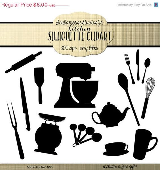 Kitchen Silhouette Clipart, 300 dpi png files, commercial use clip.