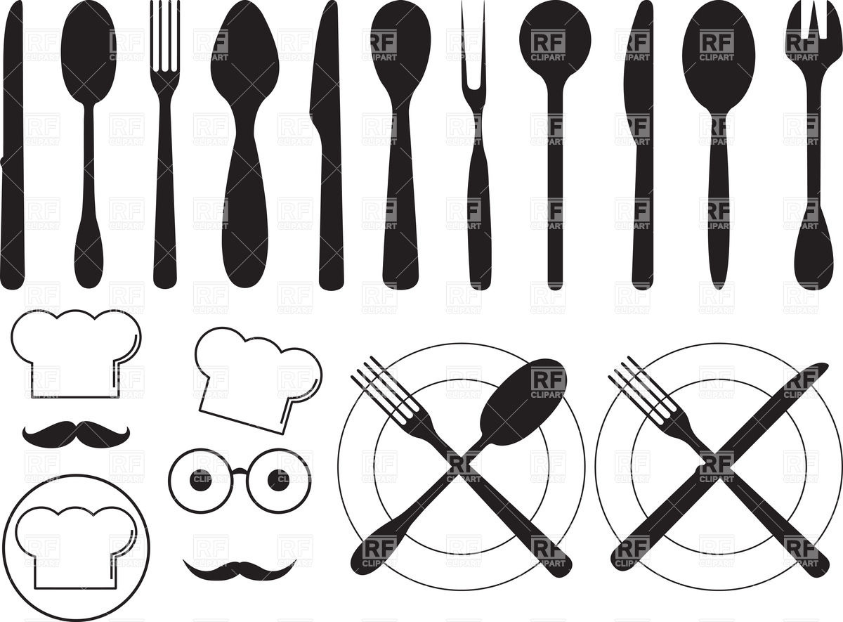 Silhouettes of kitchen tools Stock Vector Image.