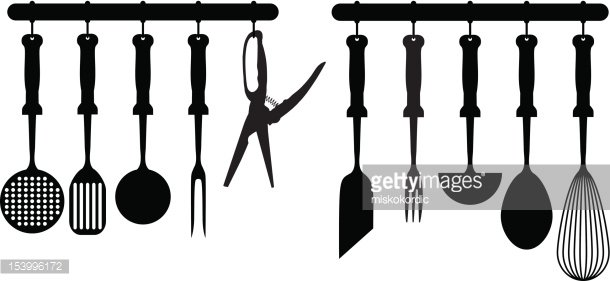 kitchen accessories silhouettes Clipart Image.