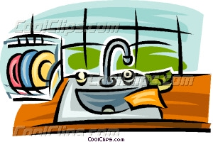 kitchen sink with dishes Vector Clip art.