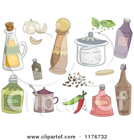 Cartoon of Kitchen Spices and Condiments.