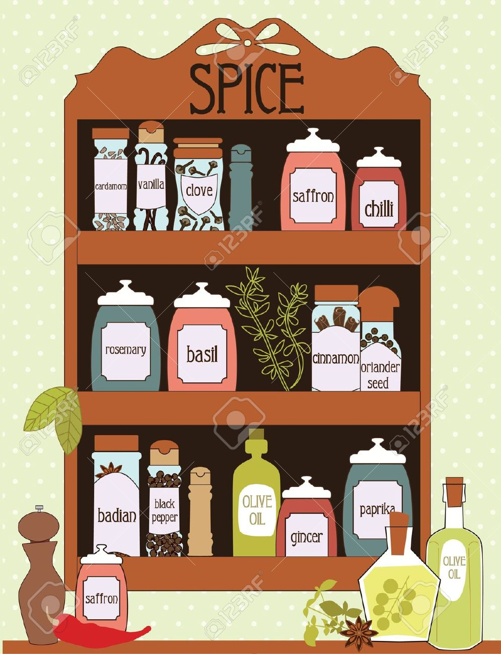 Spice Card Design. Vector Illustration Royalty Free Cliparts.