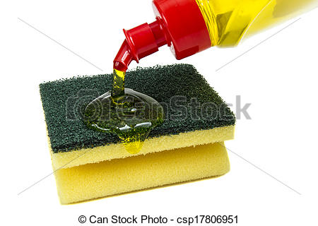 Stock Images of Kitchen sponges and dishwashing liquid.