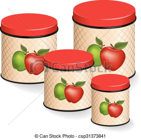EPS Vector of Kitchen Canisters Set with apples.