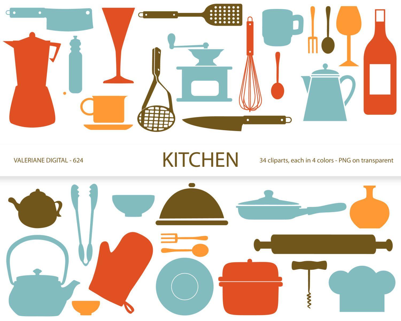 Kitchen clipart's, retro kitchen utensils, scrapbook supplies.