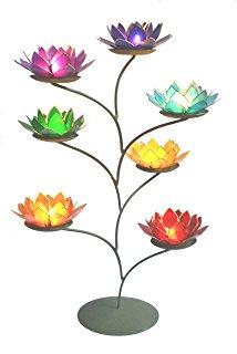 Beautiful Large Lotus Flower Chakra Rainbow Tea Light Candle.