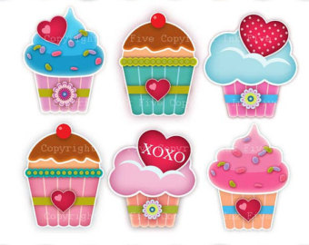 Digital Clip art Cupcakes with Love. Cute kitchen clipart images.
