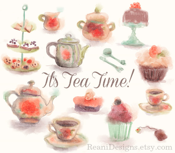 Tea Time and Cupcake Watercolor Clipart.