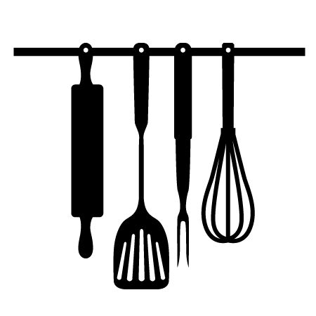 Kitchen Tools Clipart Black And White.