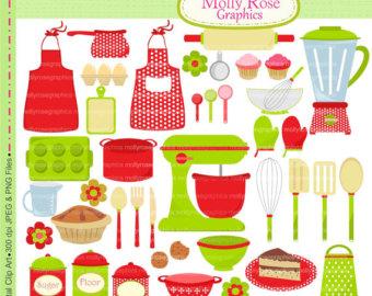 SALE cooking clip art, baking clip art, apron, blender, mixer, pot.