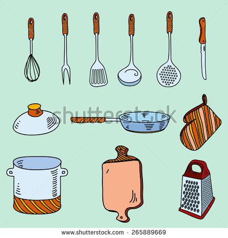 Kitchen Tools Cooking Equipment Kitchen Utensils Stock Vector.