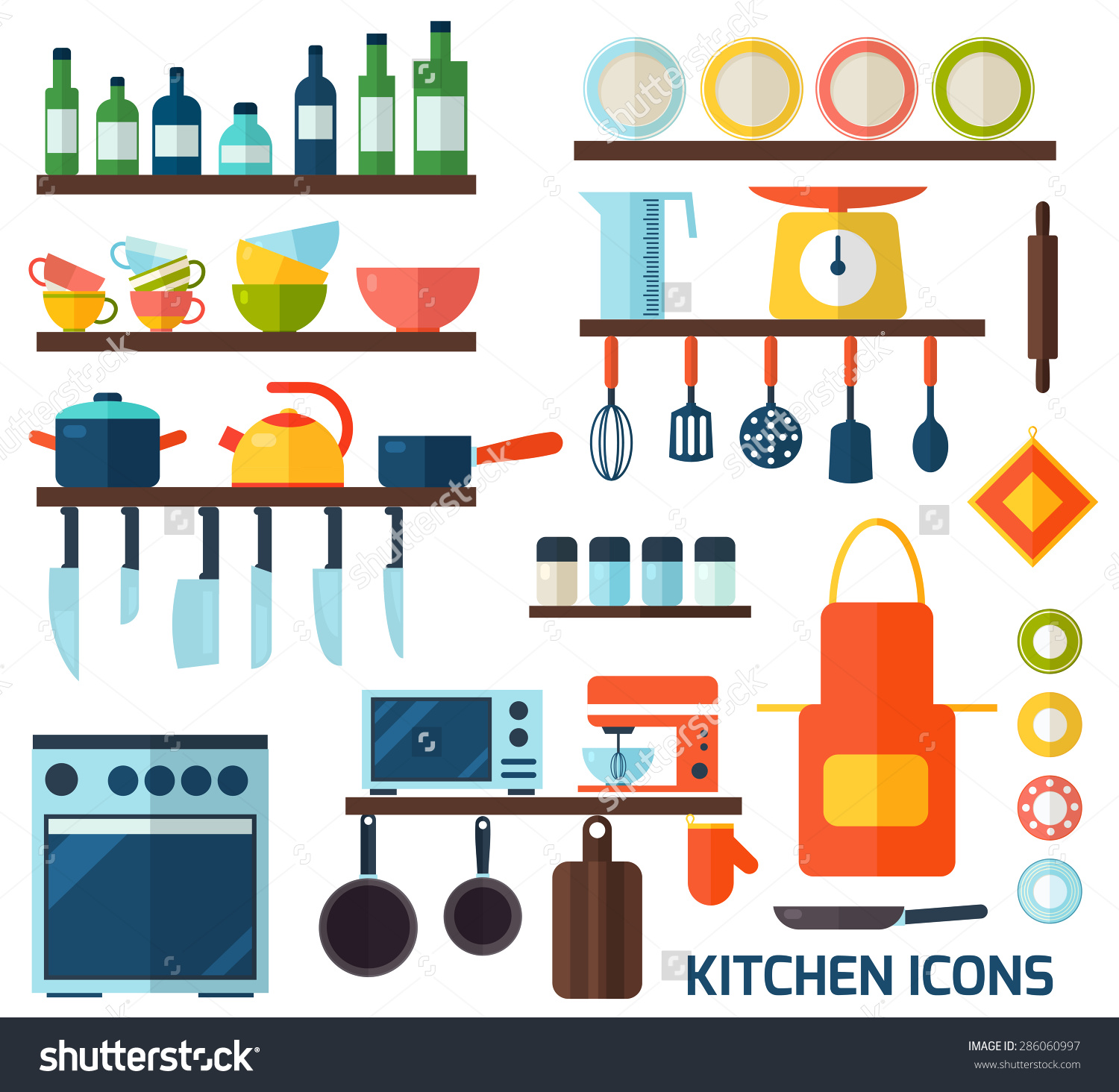 Cooking Tools Kitchenware Equipment Symbol Collection Stock Vector.