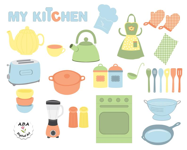 Kitchen tool clipart, Kitchenware equipment, Cooking tool utensil, Cookig  kitchen accessories, Commercial Use.