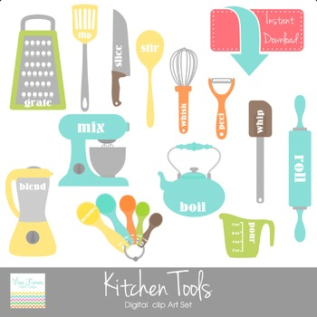 Kitchen Tools Digital clip Art Set.