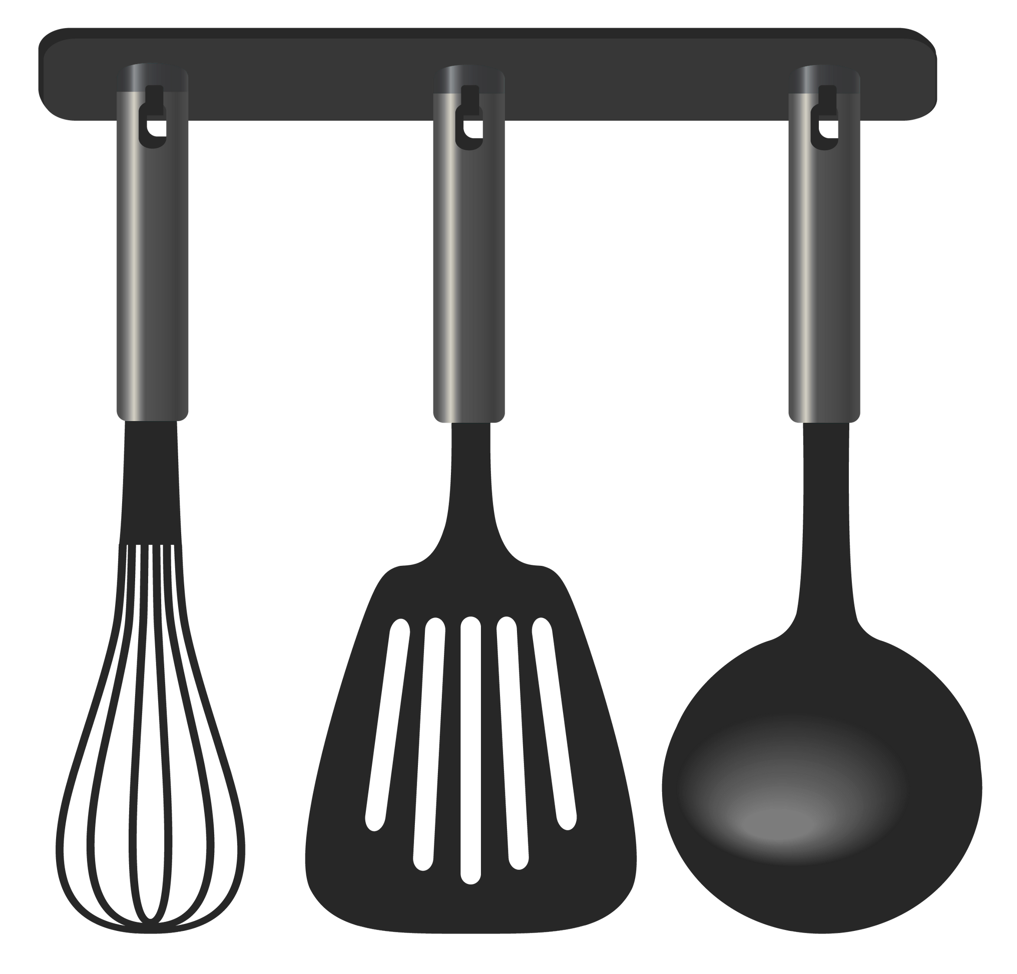Black Kitchen Tool Set PNG Clipart.