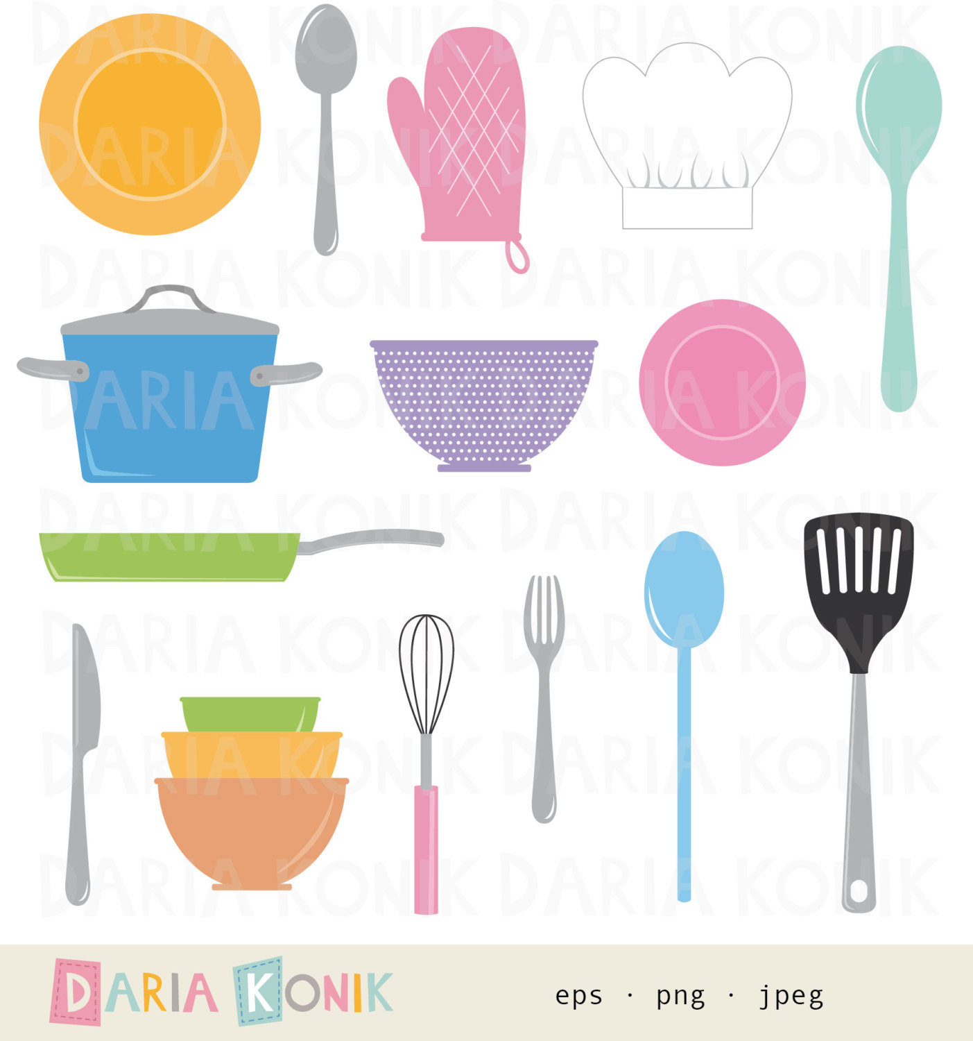 Cooking Clip Art Set kitchen clipart cooking utensils.