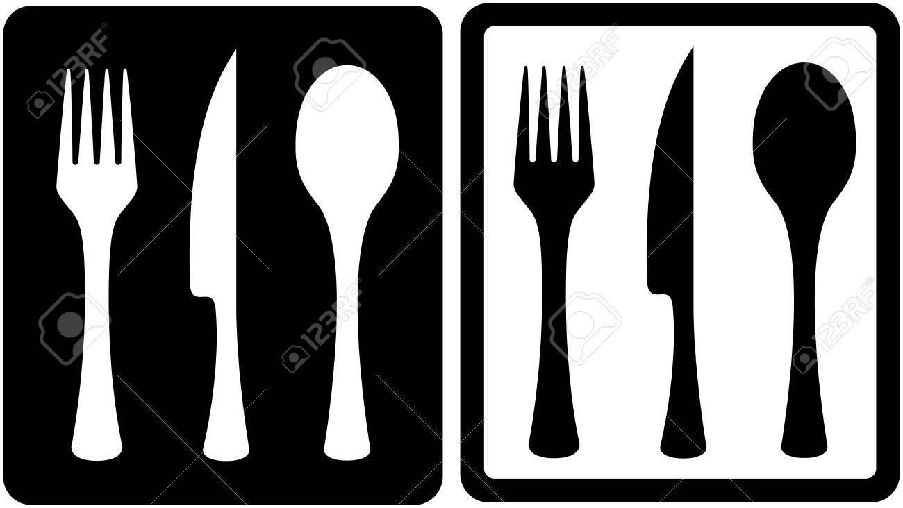set black and white kitchen utensil icons.
