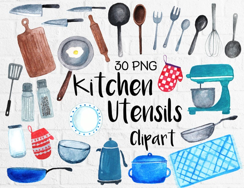 Watercolor Kitchen Utensils Clipart, Baking Kitchen Tool Clipart, Cooking  Clipart, Kitchen Doodle, Watercolor Painting.