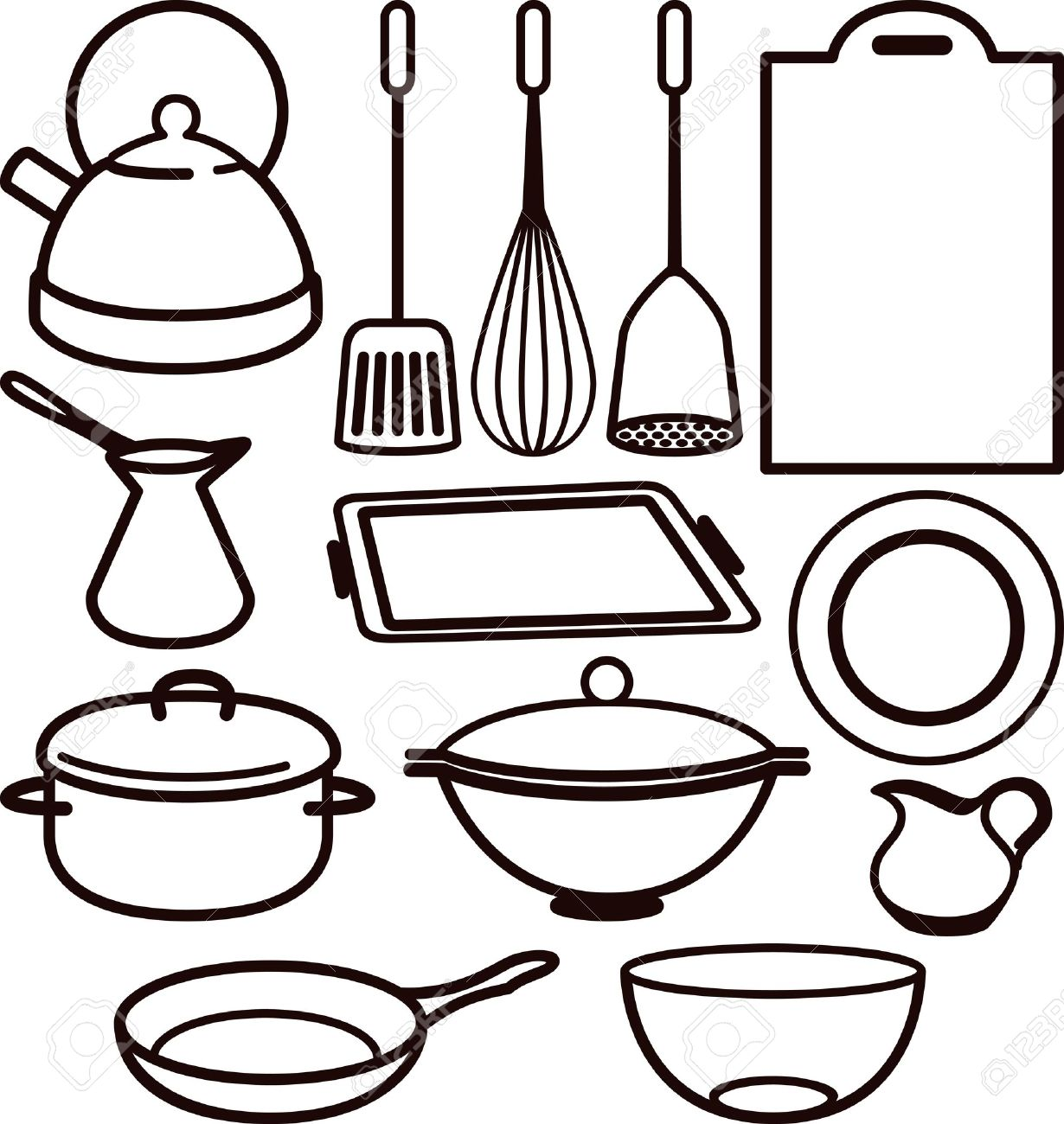 Utensils Clipart Black And White.