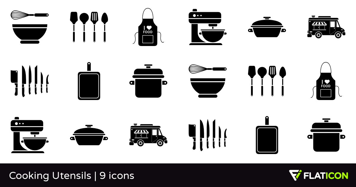 Cooking Utensils 9 free icons (SVG, EPS, PSD, PNG files).