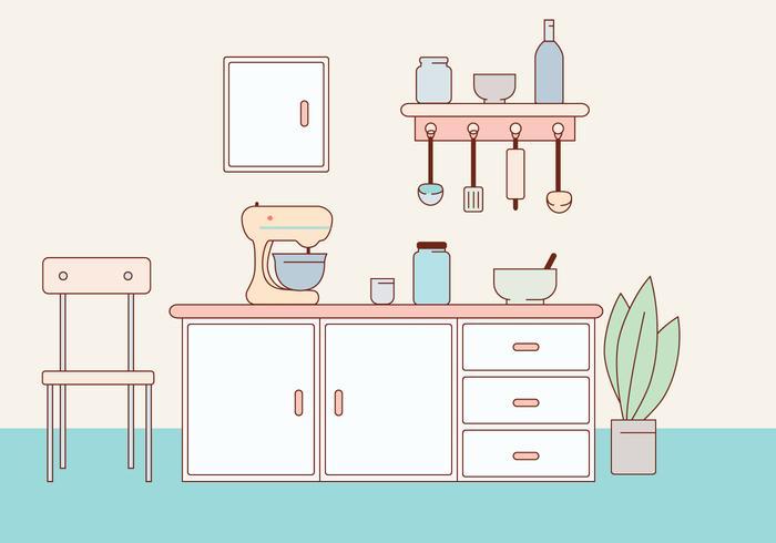Kitchen Vector Illustration.