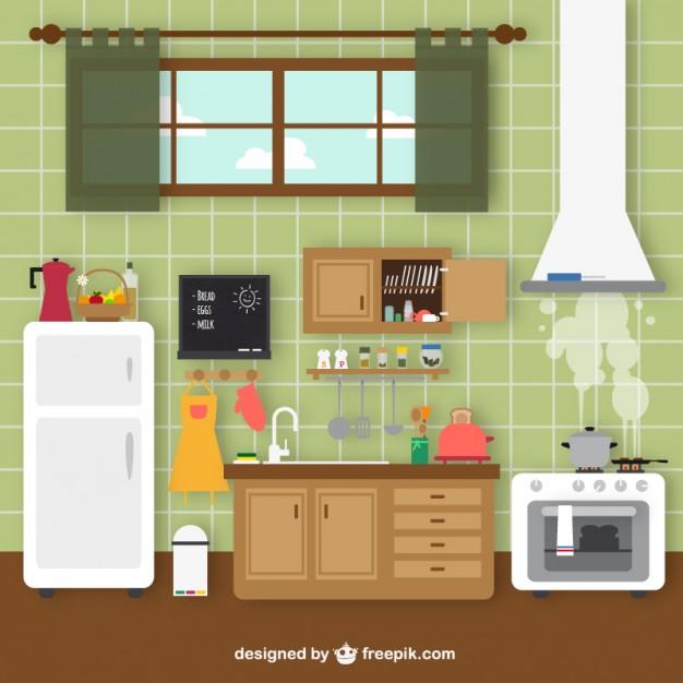 Retro kitchen Vector.
