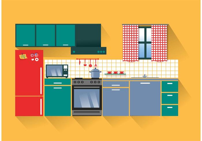 Modern Kitchen Vector.