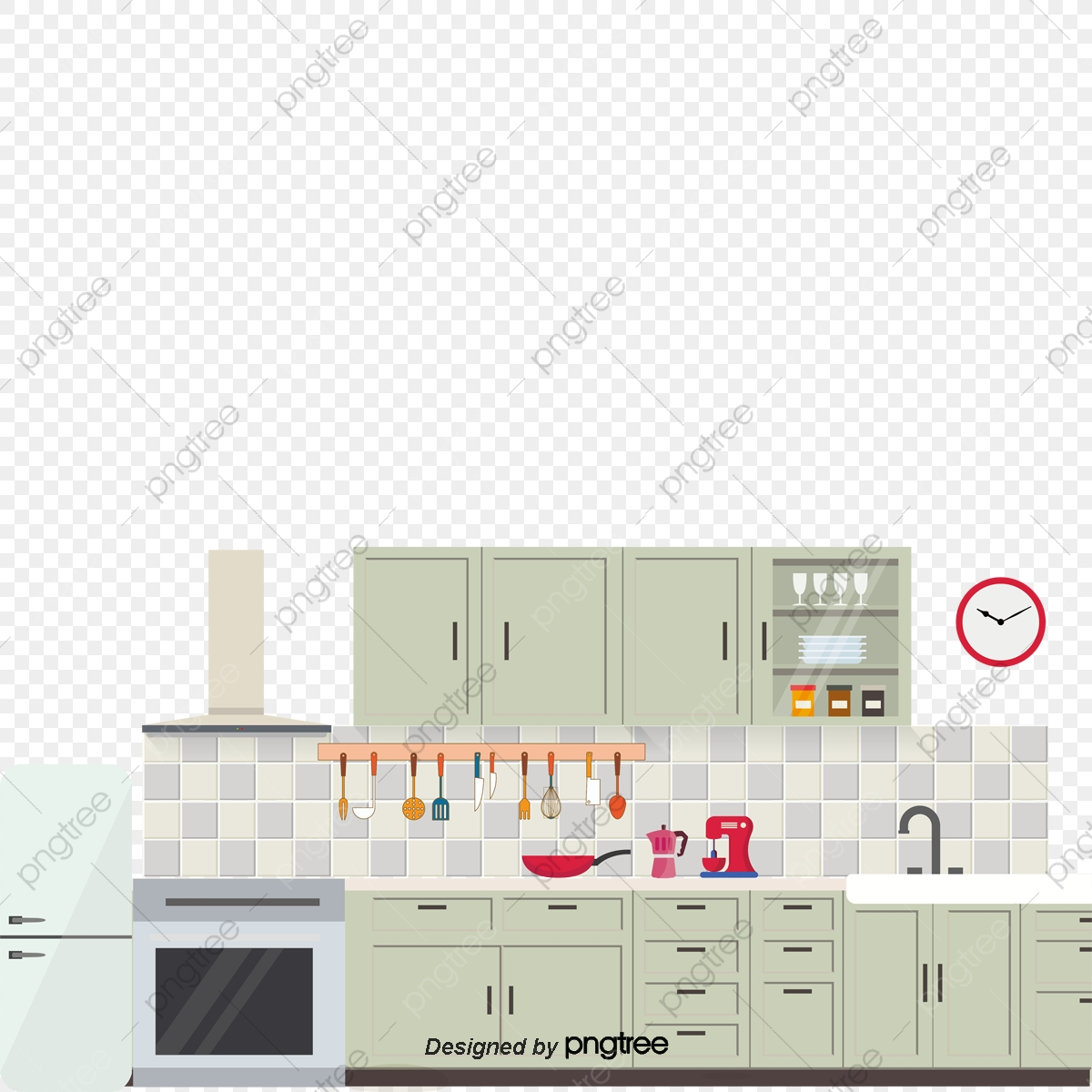 Vector Kitchen, Kitchen Vector, Refrigerator, Cupboard PNG and.
