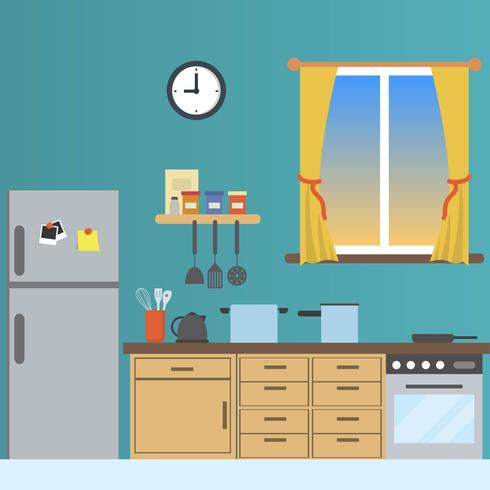 Flat Kitchen With Window View Vector Illustration.