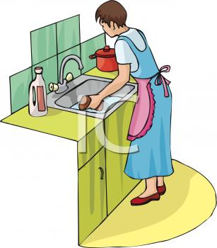 Women in kitchen clipart.