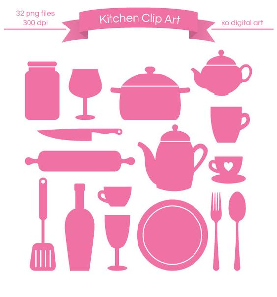 Digital Kitchen clip art, Kitchenware Silhouette clip art, clipart.