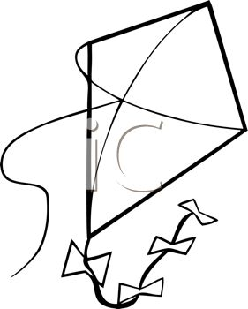 Kite Clipart Black And White.