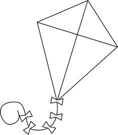 kite black and white clipart 2 Clipart Station.