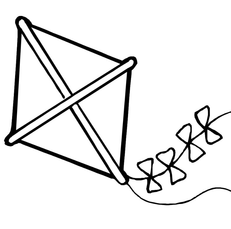 Kite Black And White Clipart.