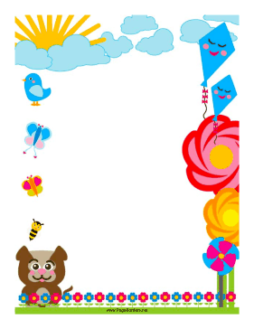 Flowers and kites adorn this colorful border. Free to.