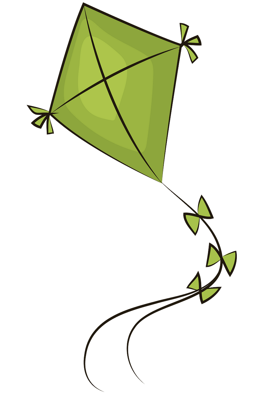 Green kite clipart. Free download..