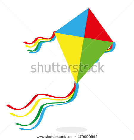 Cartoon Kite Flying Stock Images, Royalty.