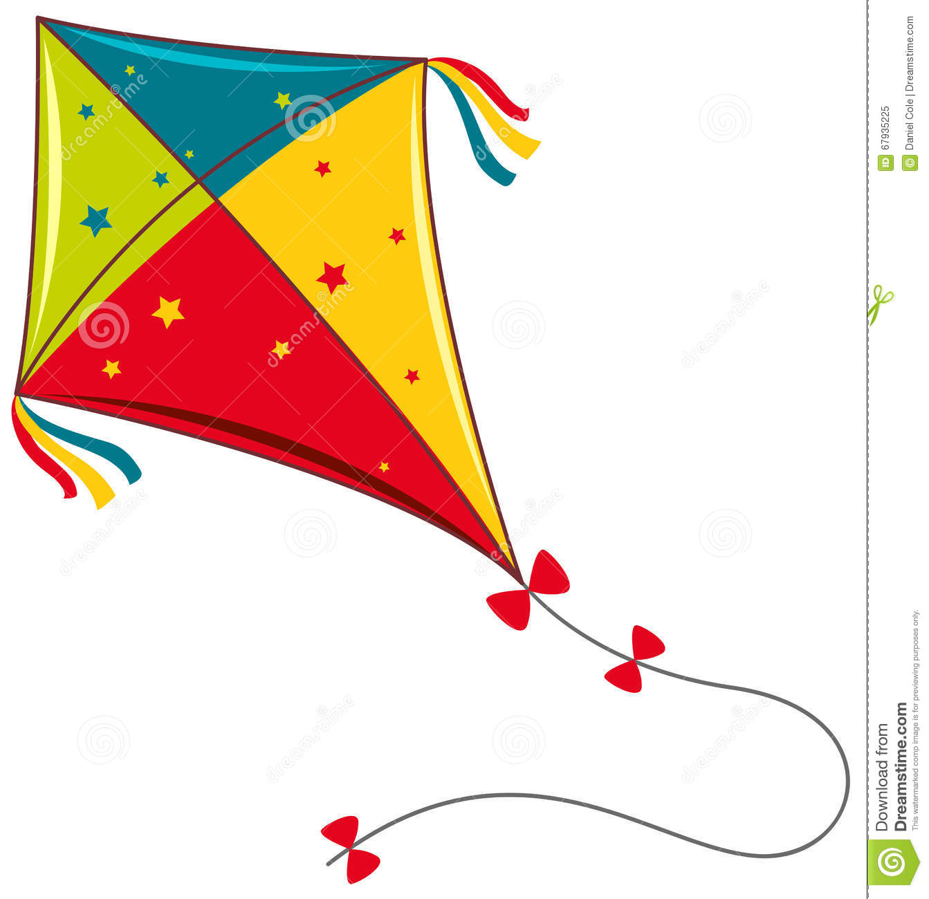 Colorful Kite On White Background Stock Vector.