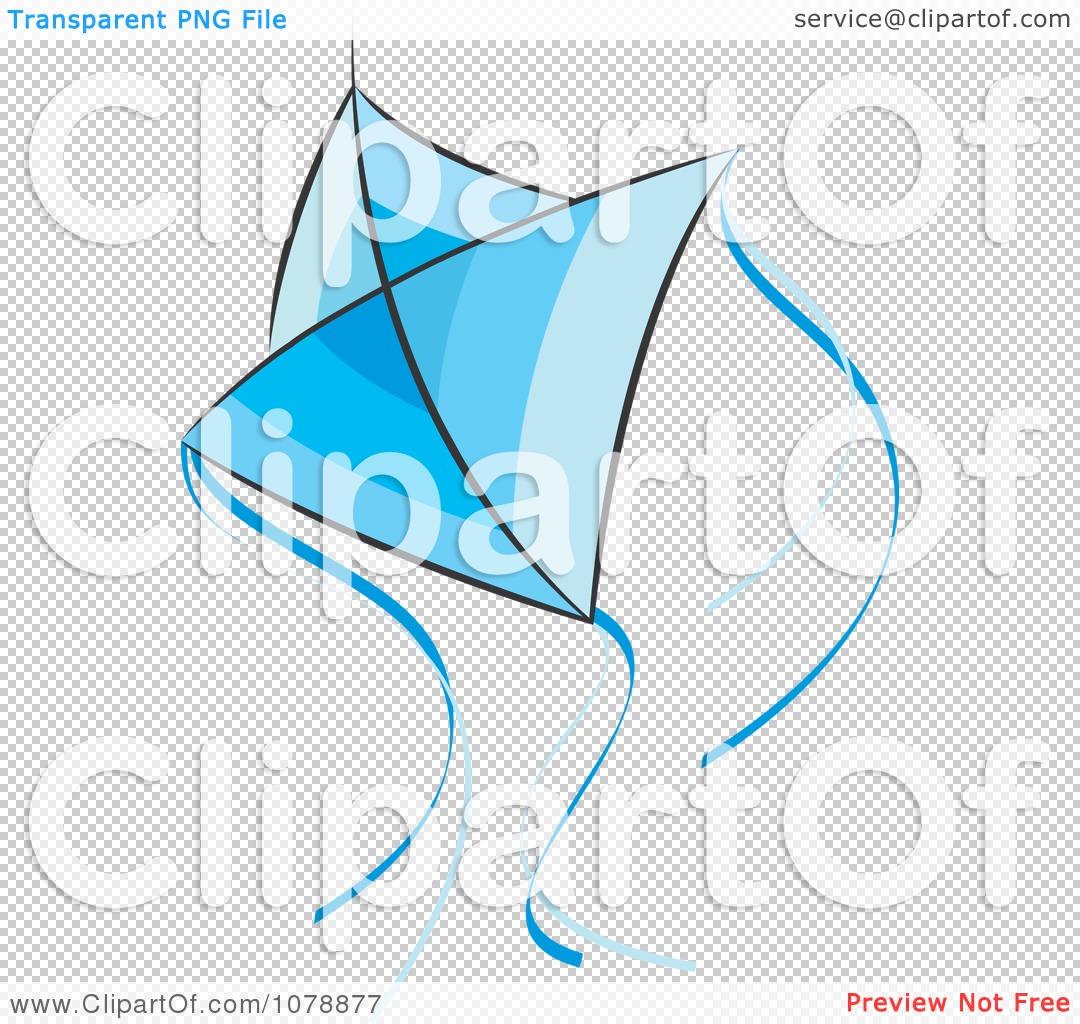 Clipart Flying Blue Kite.