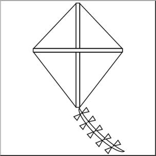 Clip Art: Basic Shapes: Kite 2 B&W I abcteach.com.
