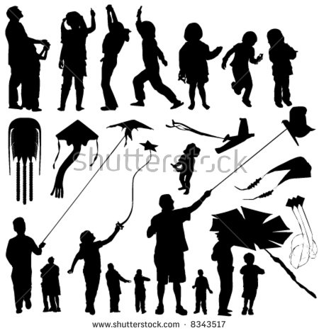 Children Flying Kites Silhouette Sunset Stock Vector 118936738.