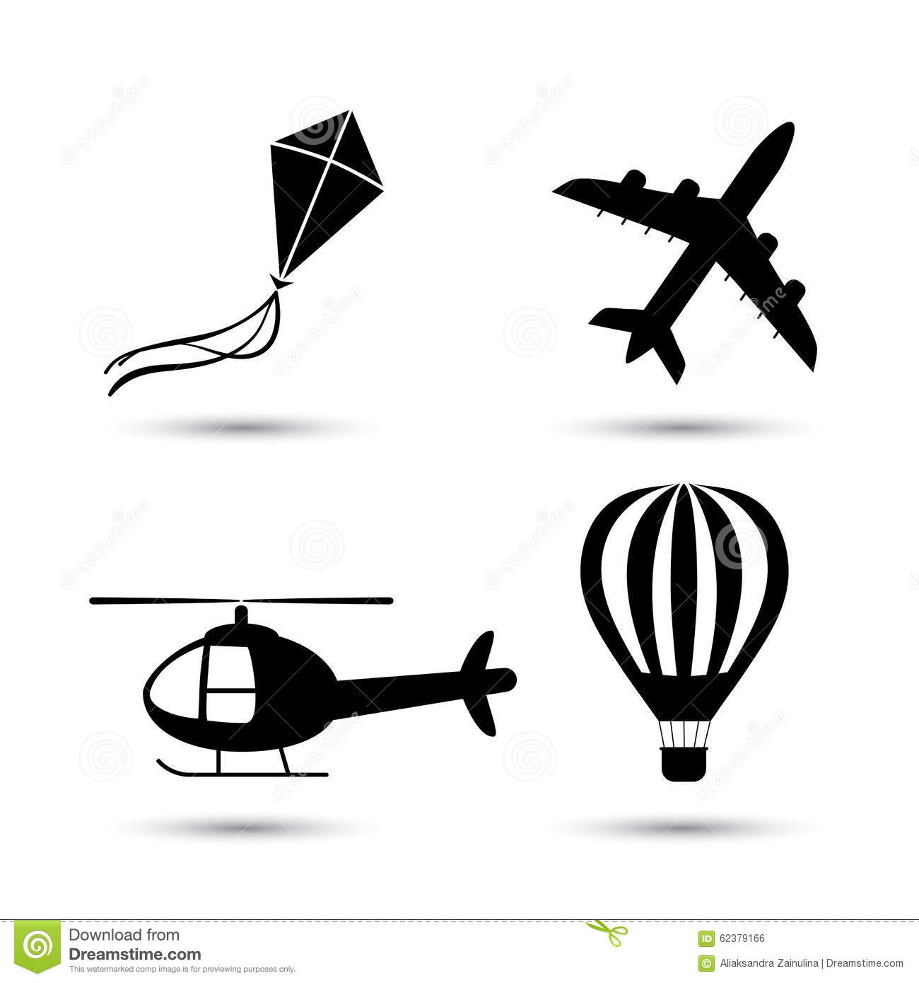 Airplane, Helicopter, Air Balloon And Kite Vector Stock Vector.