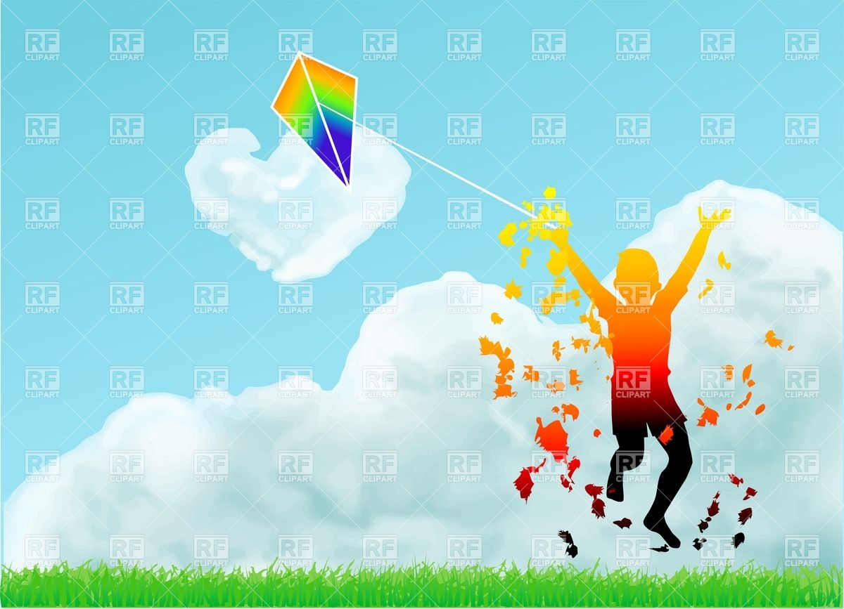 Silhouette of a boy with a kite Vector Image #27244.