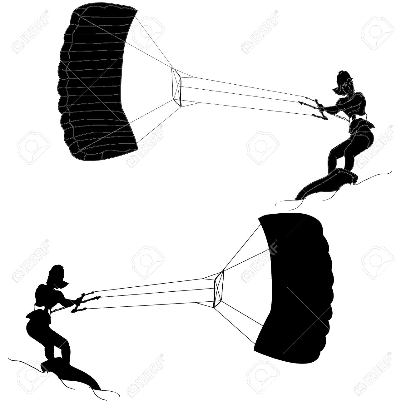 Silhouette Of A Girl And A Kite. Kitesurfing Royalty Free Cliparts.