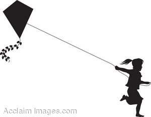 Clip Art Of The Silhouette Of A Female Child Running With A Kite.