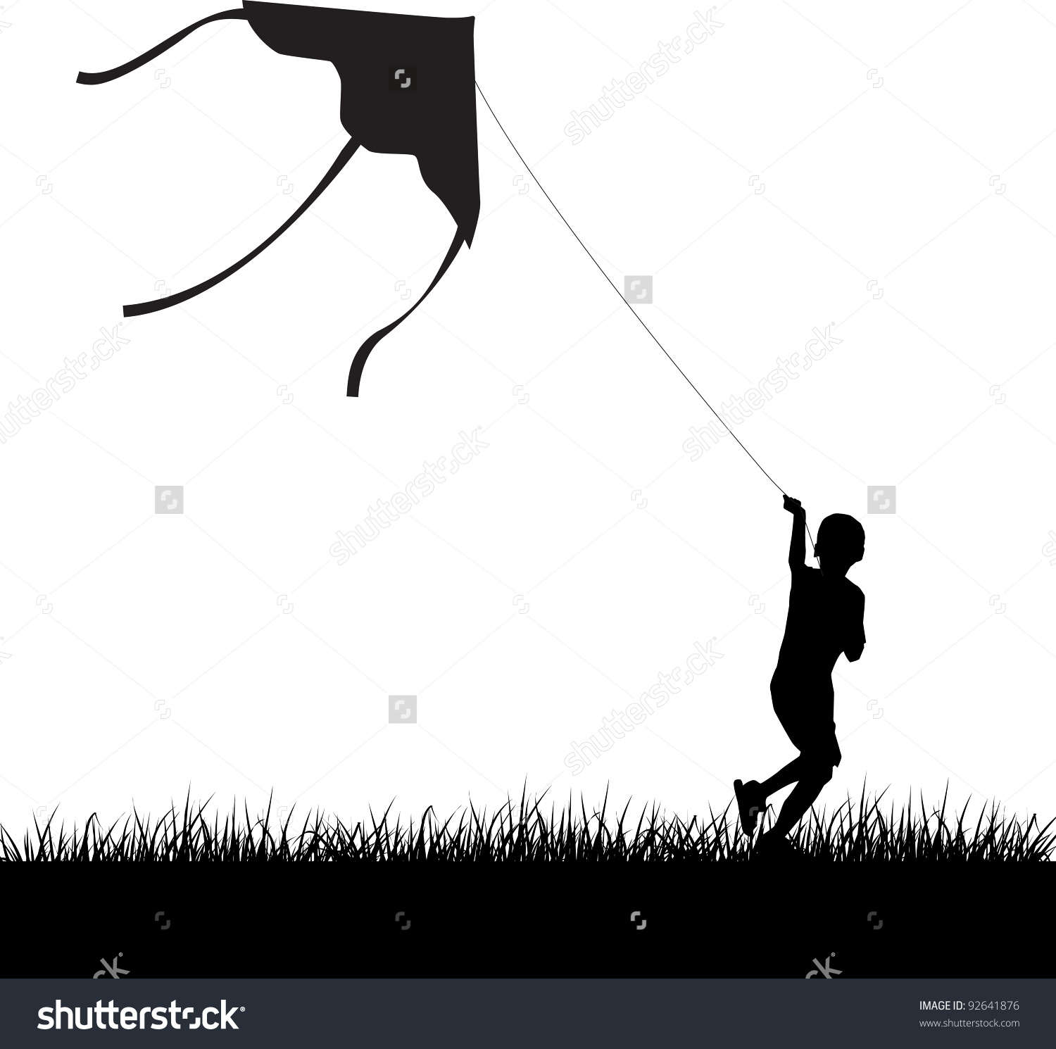 Silhouette Running Boy Flying Kite Vector Stock Vector 92641876.