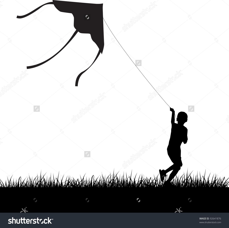 Silhouette Running Boy Flying Kite Vector Stock Vector 92641876.