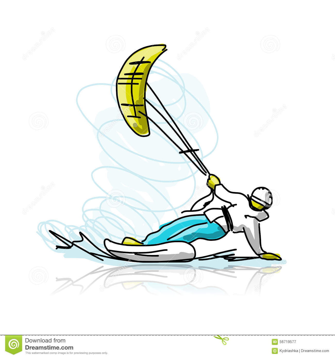 Kite Surfer On Snowboard, Sketch For Your Design Stock Vector.