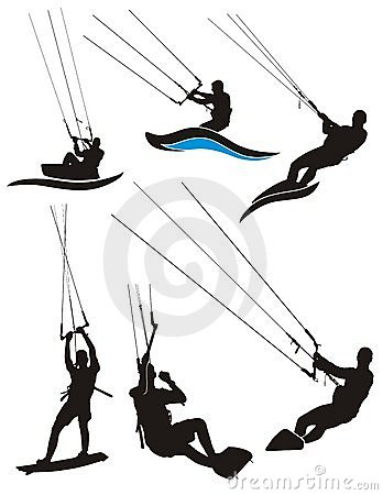 Kite Surfing Stock Illustrations.
