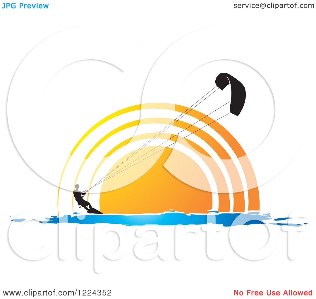 Clipart of a Silhouetted Kite Surfer Against a Sunset.